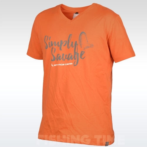 Savage Gear Simply Savage V-neck Tee Orange póló f89c81a9f5