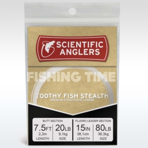 Toothy Fish Stealth 7.5' AR Tapered Leader w/15'' 80 lb Fluoro